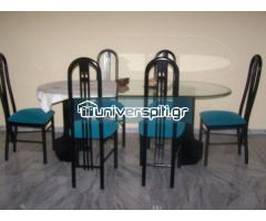 Τραπεζαρία γυάλινη με έξι καρέκλες