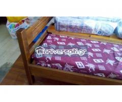 Κρεβάτια από σουηδικό ξύλο κομπλέ με τάβλες και στρώμα