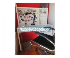 γραφείο με ενσωματωμένη βιβλιοθήκη, πολυθρόνα, φωτιστικό, καλαθάκι